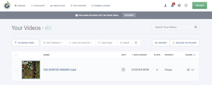 SproutVideo video hosting interface