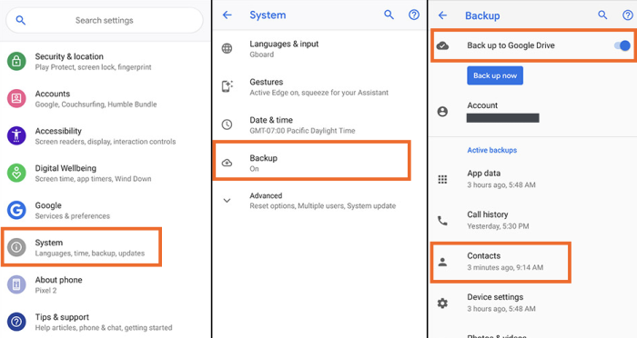 Backup Google Contacts in Android
