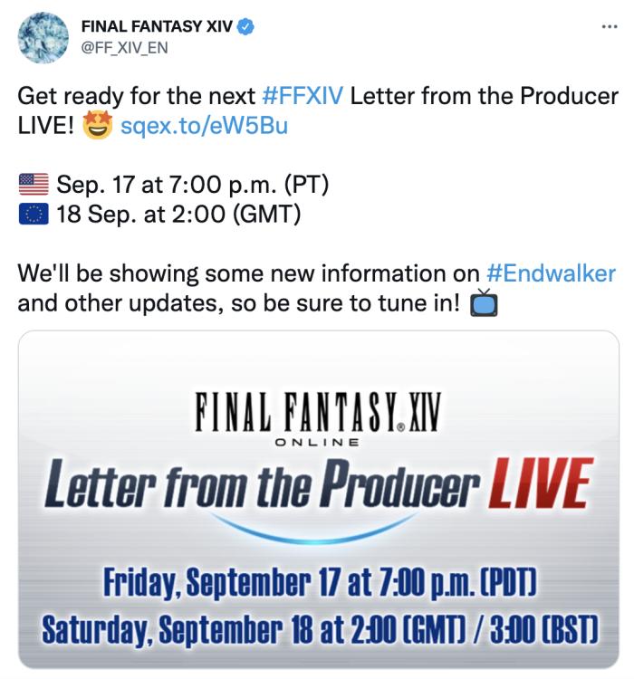 An FF14 Tweet about an event