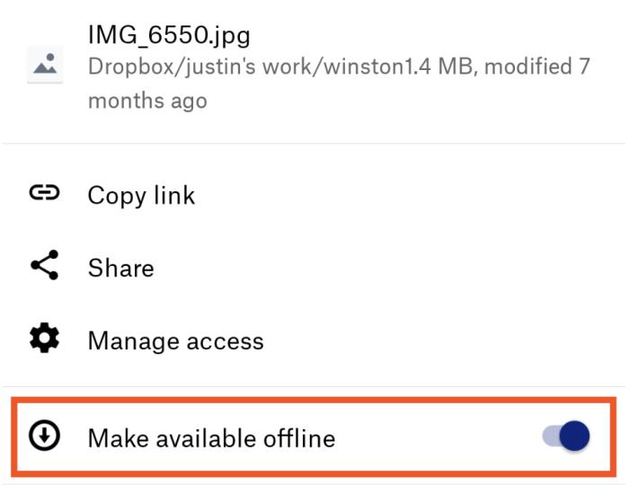 Make available offline option
