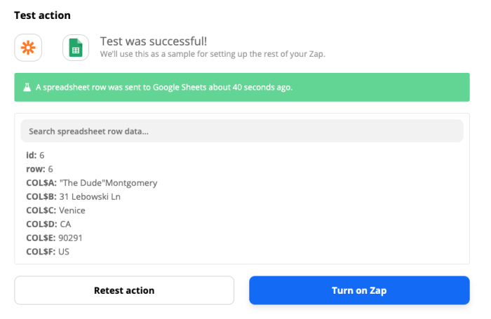 """The successful test alert in Zapier reading """"Test was successful!"""" and """"A spreadsheet row was sent to Google Sheets about 40 seconds ago."""""""
