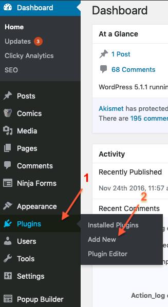 Plugins > Add New in left menu
