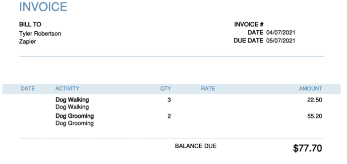 Example invoice in QuickBooks Online