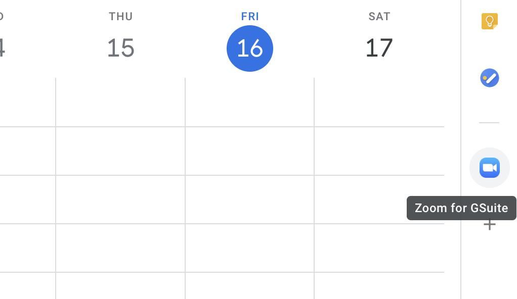Zoom button in Google Calendar sidebar