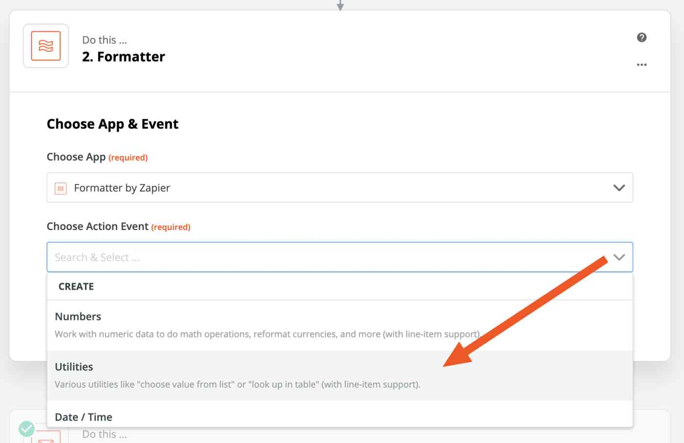Arrow pointing to Lookup Table in the Choose Action Event menu.