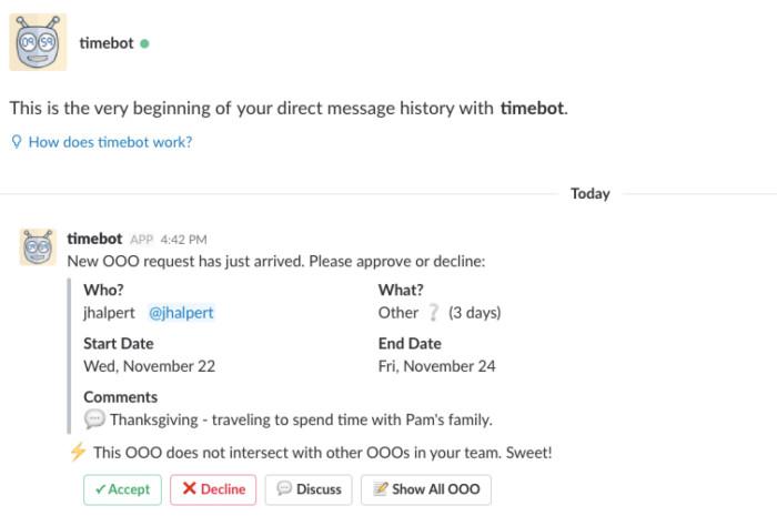 TimeBot Slack app screenshot
