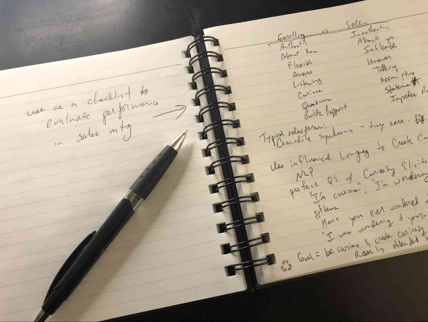 An example of the left and right note-taking system