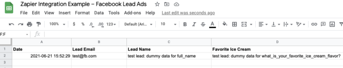 A screenshot of a Google Sheet showing information from Facebook Lead Ads brought into a spreadsheet.