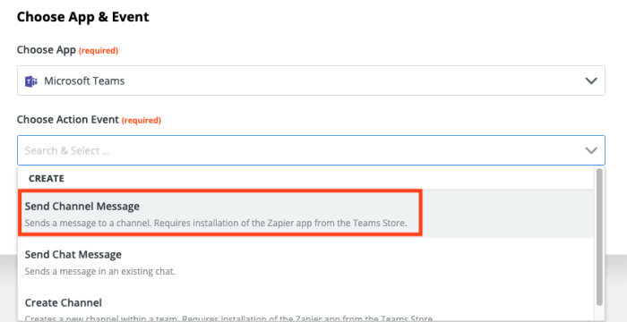 A screenshot of selecting the action event in the Zap Editor.