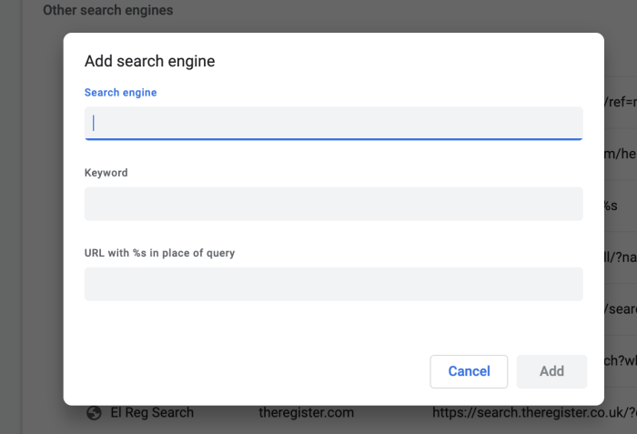 New search engine box in Chrome