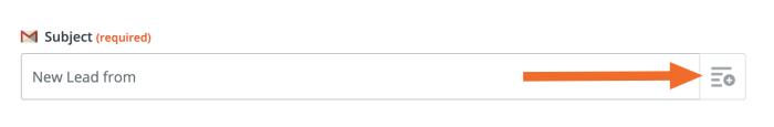 Gmail fields button