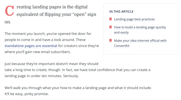 A screenshot of a site article from ConvertKit