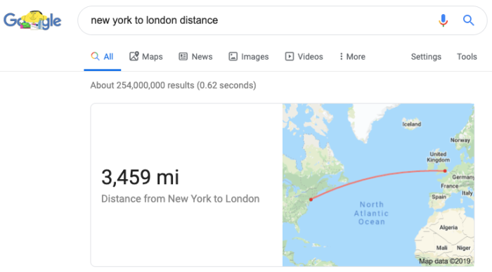 Distance calculator in Google search results