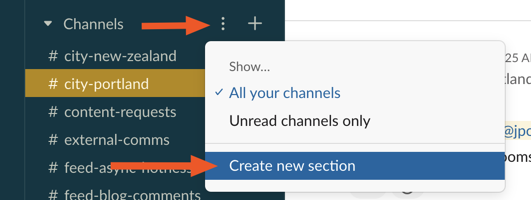 Create a new sidebar section in Slack