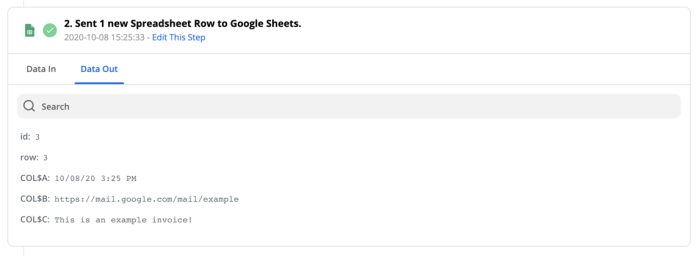 Example of the Data Out tab for a Create Spreadsheet Row action, showing the data returned from Google Sheets