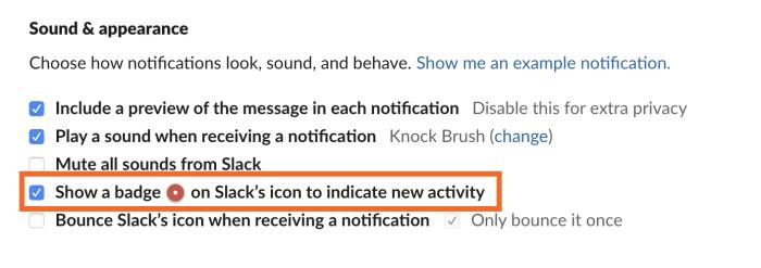 Show a badge on Slack