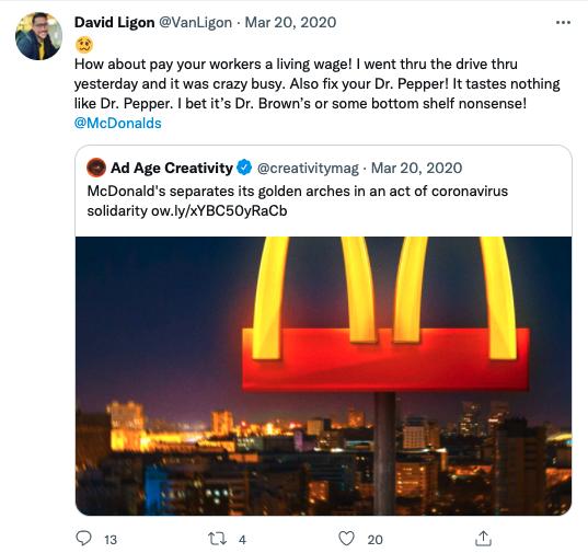 An example of a negative tweet