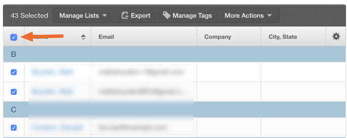 Click the top checkmark to select all contacts