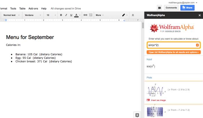 Wolfram Alpha for Google Docs
