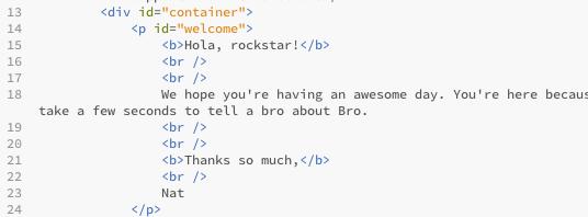 Bro Body Text