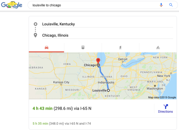 Google Search travel estimates