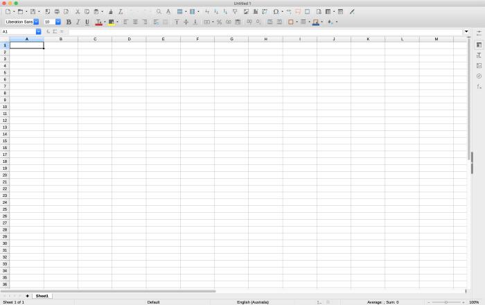 LibreOffice screenshot of blank spreadsheet