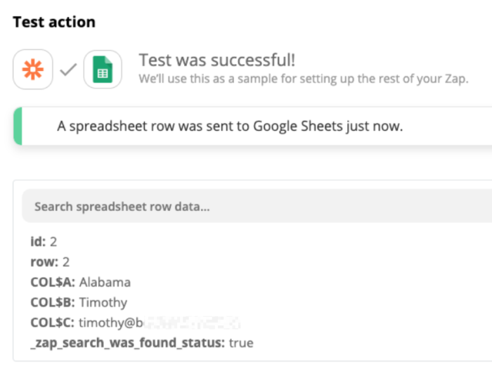 Test action: Test was successful. A spreadsheet row as added to Google Sheets just now.