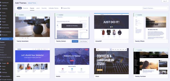 WordPress WooCommerce theme section