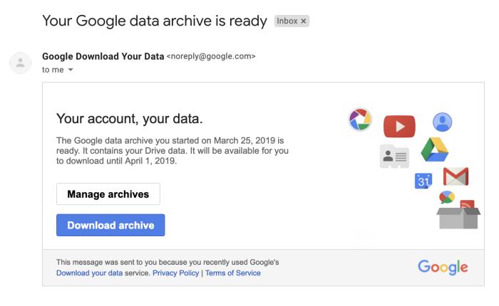 Correo electrónico de Google Takeout