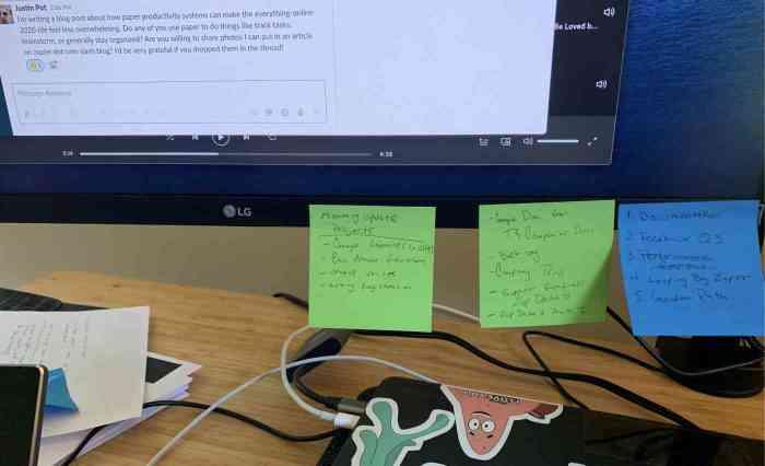 Sticky note to do list system