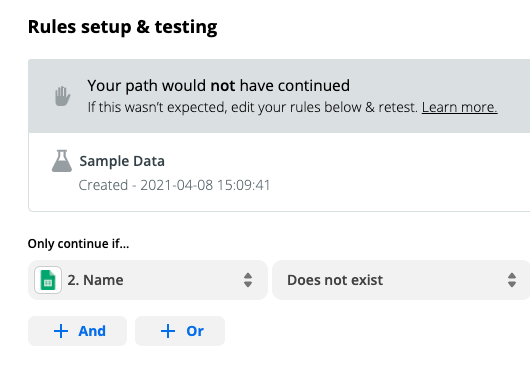 """Rules setup and testing: """"Your path would not have continued"""""""