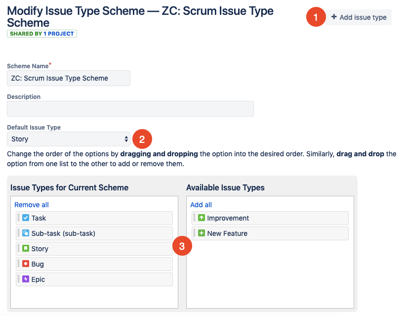 add or remove issue types in Jira