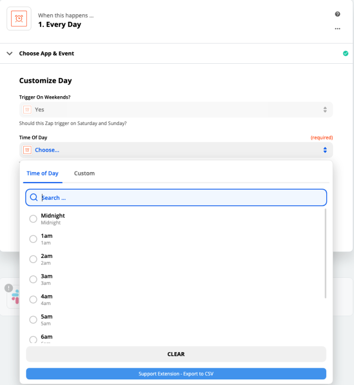 A screenshot of time of day options in the Zap Editor.