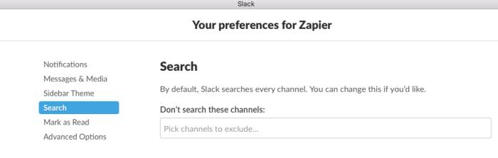 Slack search preferences