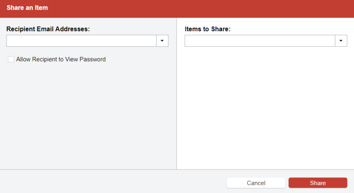 The sharing center in LastPass, opened to share a single login with another user