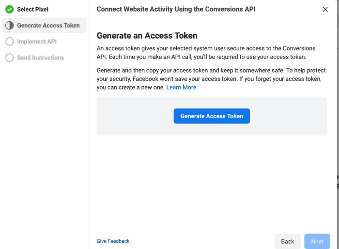 Generating an access token in Facebook Conversions API