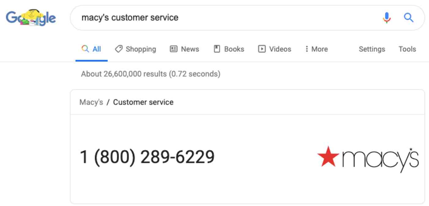 customer service number Google quick search