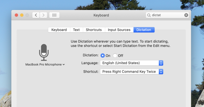 Dictation settings in macOS
