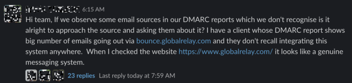 A screenshot of a Slack chat from Email Geeks