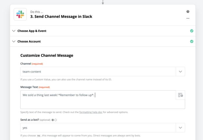 Formatting a Slack message in Zapier