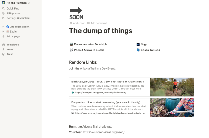 Showing Ellie's spot to dump things in Notion