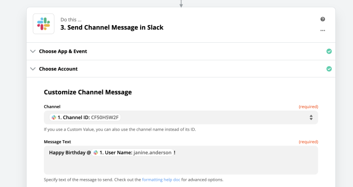 customized message in Slack