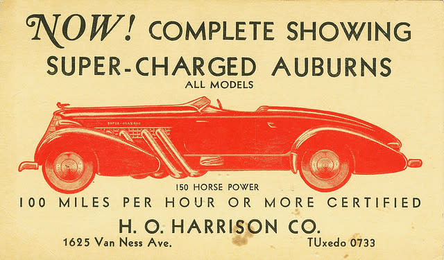 """A vintage tradecard reading """"Now! Complete showing super-charged Auburns"""" with additional details about the"""
