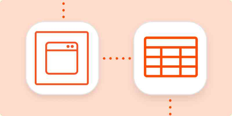 The Zapier Chrome Extension logo and an icon representing spreadsheets in white squares on an orange background.
