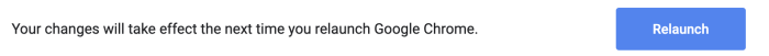 The relaunch button for Chrome