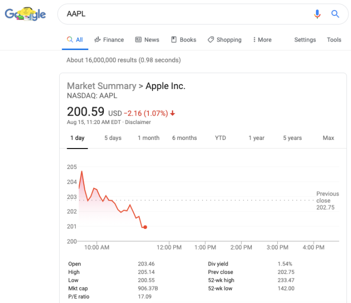 get stock prices in Google Search
