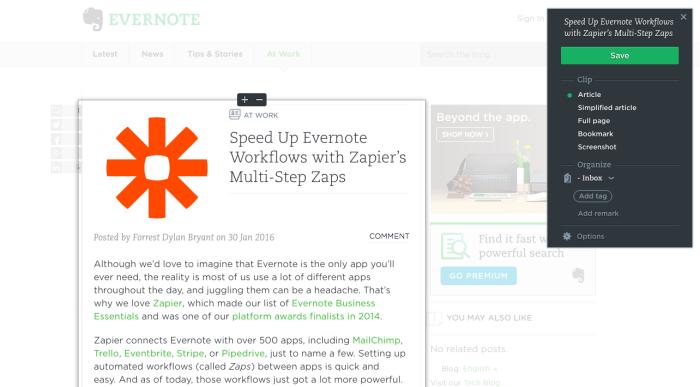Evernote Web Clipper: Article