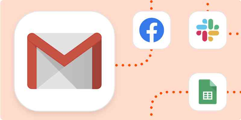 Gmail logo that connects with Facebook Lead Ads, Slack, and Google Sheet logos.