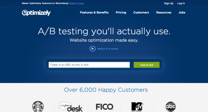 Optimizely lets you change the look of a web page with just a few clicks, to A/B test your site without developer skills.