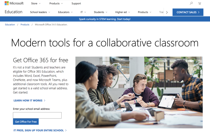 Office 365 student discount landing page